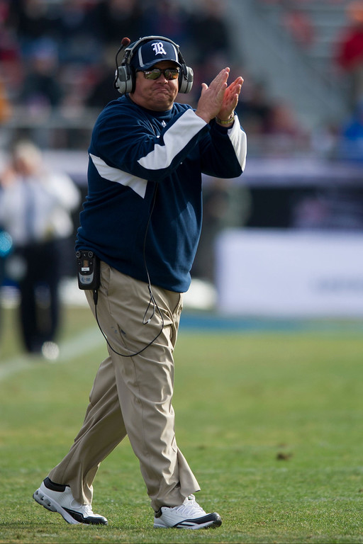 . Head Coach David Bailiff of the Rice Owls celebrates after a touchdown against the Air Force Falcons on December 29, 2012 during the Bell Helicopter Armed Forces Bowl at Amon G. Carter Stadium in Fort Worth, Texas.  (Photo by Cooper Neill/Getty Images)