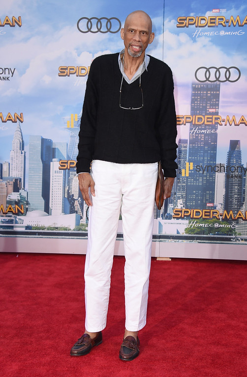 """. Kareem Abdul-Jabbar arrives at the Los Angeles premiere of \""""Spider-Man: Homecoming\"""" at the TCL Chinese Theatre on Wednesday, June 28, 2017. (Photo by Jordan Strauss/Invision/AP)"""