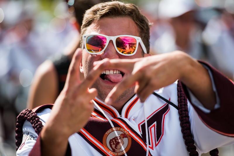 "A member of the MArching Virginians holds up a ""VT"" before the matchup against Old Dominion University in Lane Stadium on Saturday, Sept. 7, 2019. (Photo: Cory Hancock)"