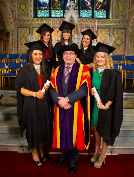 Waterford Institute Of Technology Conferring. Pictured at WIT Waterford Institute Of Technology Conferring are Stephanie O'Brien, Kilkenny, Josephine O'Connor, Wexford, Niamh Bourke, Wexford, Lorraine Watchorn, Kilkenny, Rachel O'Donnell, Tipperary who  graduated Bachelor of Arts in Social Care. Also pictured is Dr. Ruaidhrí Neavyn, President WIT. Picture: Patrick Browne