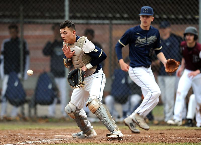4/12/2019 Mike Orazzi | Staff Newington's Johnson Gunnar (5) during baseball on Friday at Bristol Central.