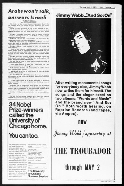 Daily Trojan, Vol. 62, No. 113, April 29, 1971