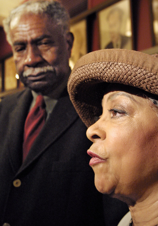 . Actress Ruby Dee is joined by her husband Ossie Davis at a New York news conference, Tuesday Oct. 15, 2002.   (AP Photo/Tina Fineberg)