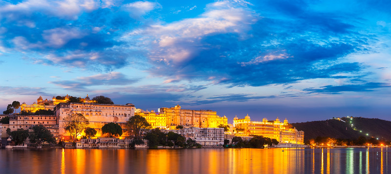 Udaipur City Palace in the evening panoramic view. Udaipur, India