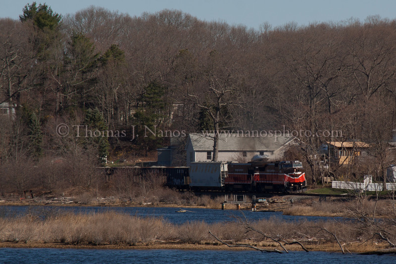 Happyland NR-2 Providence & Worcester train NR-2 heads south through the Happyland section of Preston, CT