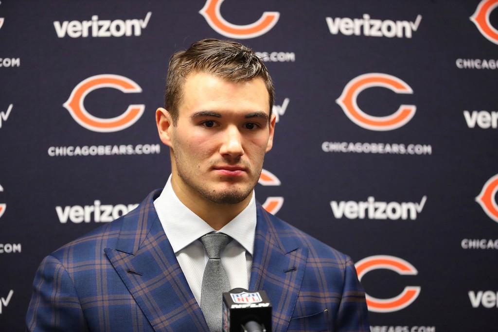 . Chicago Bears quarterback Mitchell Trubisky addresses the media after an NFL football game against the Detroit Lions, Saturday, Dec. 16, 2017, in Detroit. (AP Photo/Rick Osentoski)