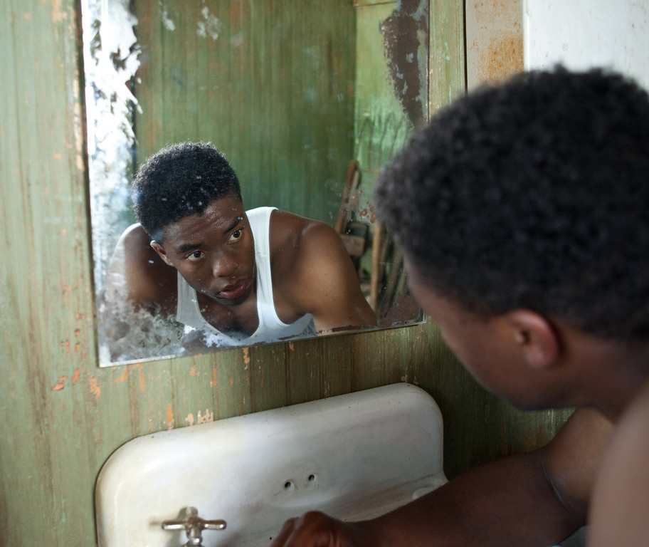 """. CHADWICK BOSEMAN as Jackie Robinson in Warner Bros. Pictures� and Legendary Pictures� drama �\""""42\"""" a Warner Bros. Pictures release."""