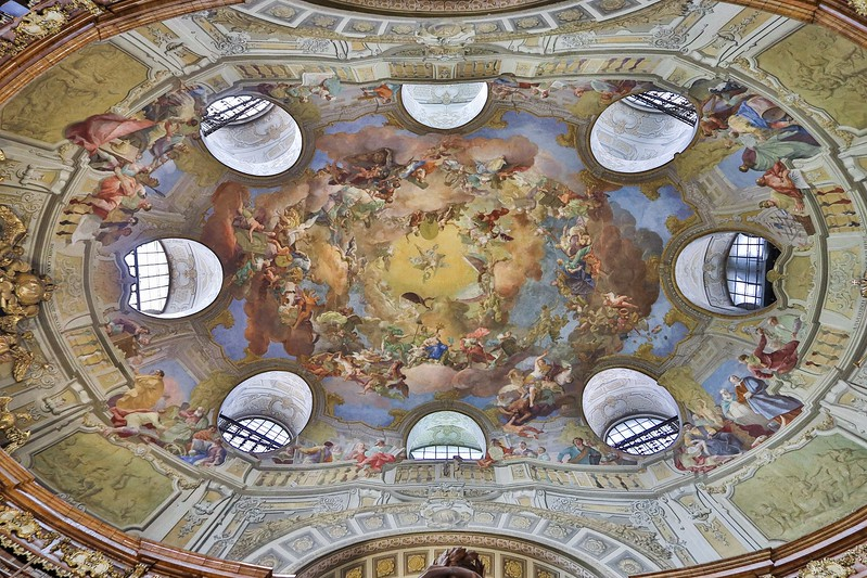 One of the most impressive views upward I have ever had the privilege of enjoying. All frescoes in the Library were done by Austrian Daniel Gran, who died in 1757.