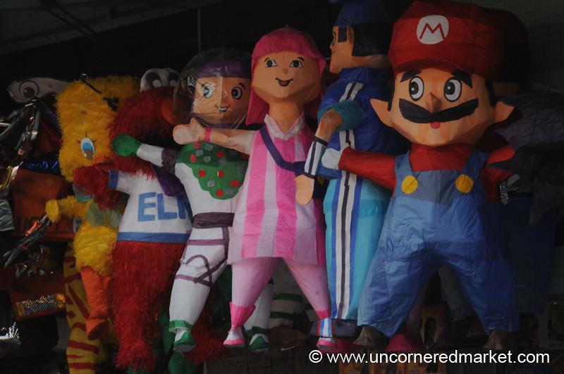 Mario, Elmo and Other Pinata Characters - Guatemala City, Guatemala