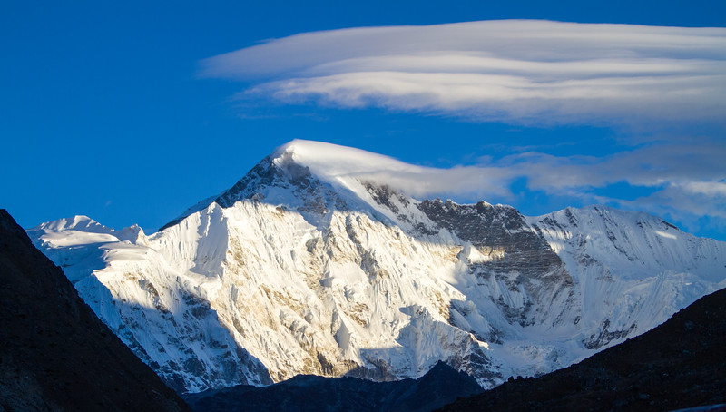 Cho Oyu, the sixth tallest mountain in the world, as seen from the Nepali town of Gokyo