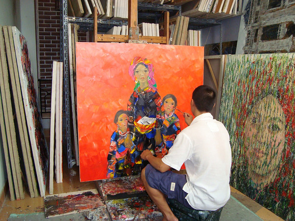 Doan Xuan Tang at work in his studio August 2010.