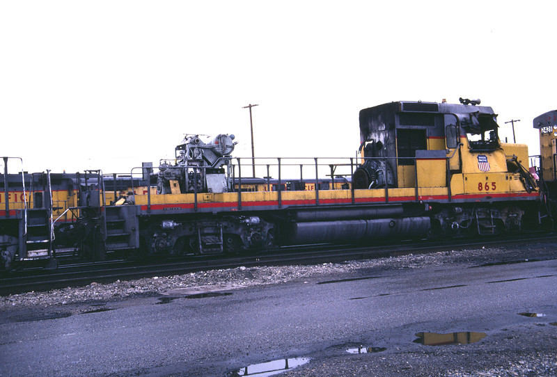 UP GP30 865. Wrecked in September 1983 and shown here with its long hood and other components removed. Salt Lake City, December 1983. (Don Strack Photo)