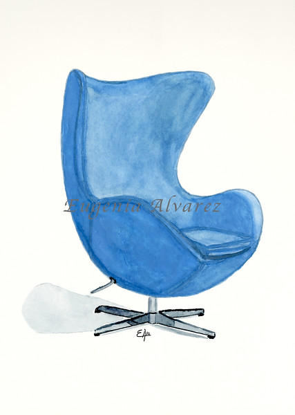 The Egg Chair. Painting Art Print Furniture Art Print Fine Art Print from Watercolor Painting Famous Chair  Art Print Arne Jacobsen Watercolor Wall Art