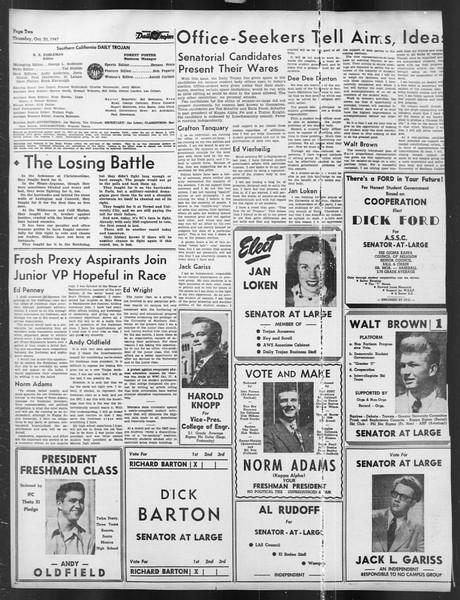 Daily Trojan, Vol. 39, No. 34, October 30, 1947