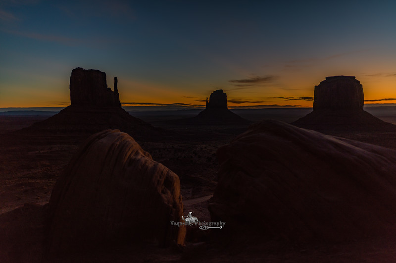 Sunrise West and East Mittens with Merrick's Butte, Monument Valley (2 February 2018)