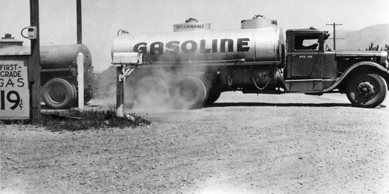 Gasoline tanker truck, North Salt Lake, June 1939.