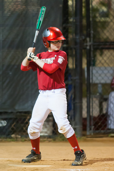Christopher drives a single up the 1st base line in the bottom of the 5th inning. The Nationals won their second game in a row to start the season with an 11-0 victory over the Twins. 2012 Arlington Little League Baseball, Majors Division. Nationals vs Twins (19 Apr 2012) (Image taken by Patrick R. Kane on 19 Apr 2012 with Canon EOS-1D Mark III at ISO 3200, f2.8, 1/250 sec and 300mm)