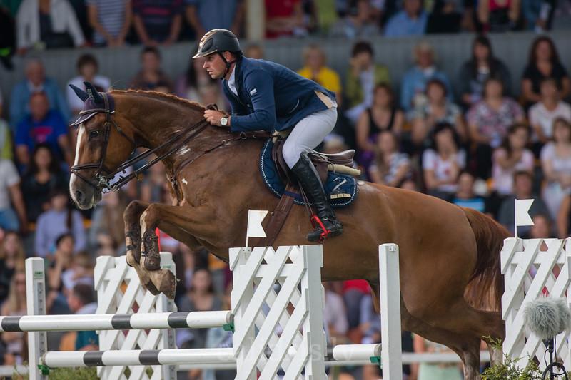 Vital DZIUNDZIKAU (BLR) with the horse CARIMBO, World Cup competition, Grand Prix Riga, CSI2*-W, CSIYH1* - Riga 2016, Latvia