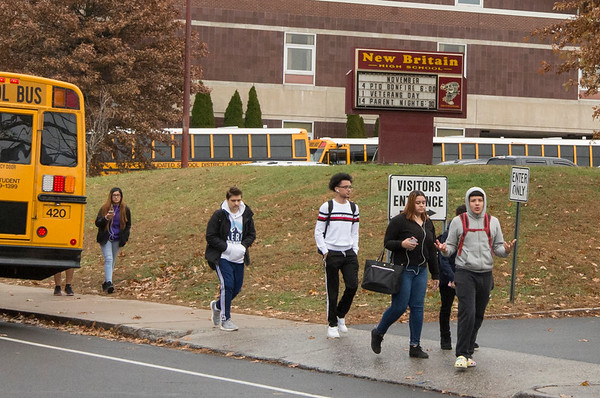 11/19/19 Wesley Bunnell | StaffrrStudents at New Britain High School leave school grounds at the end of the day on Monday November 18, 2019.