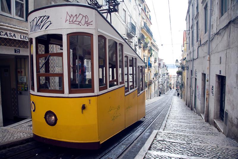 Elevador da bica, a funicular railway connecting the docks and the Bairro Alto, Lisbon.