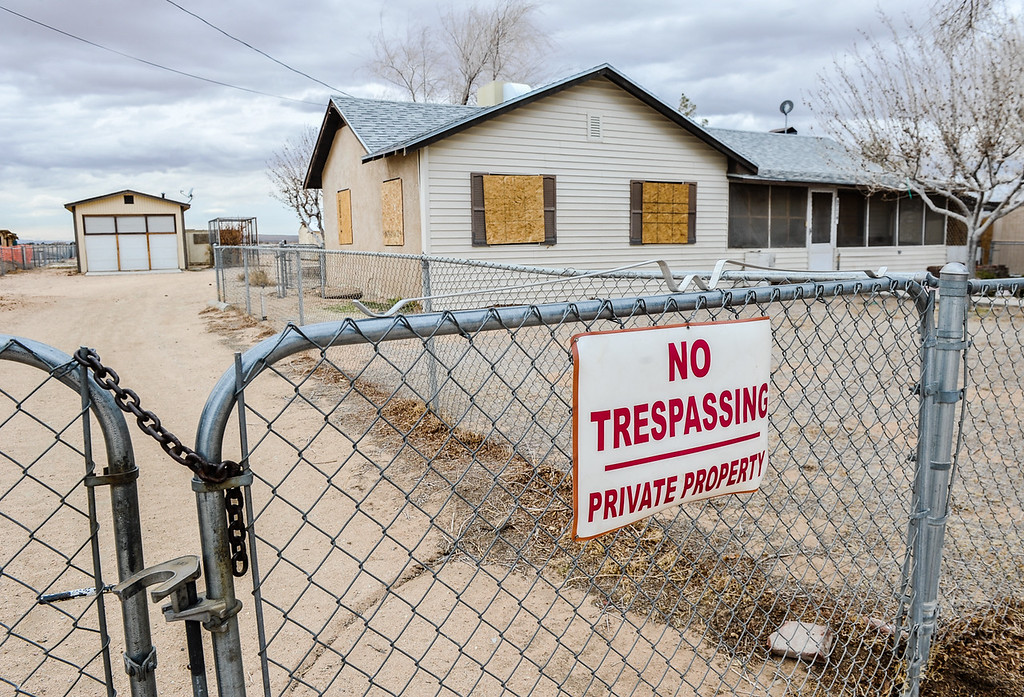 . Evidence of Hinkley\'s desolation appears in a vacant home in Hinkley, Calif. on Thursday, March 7, 2013. PG&E has extended buyout offers to 366 Hinkley homeowners since 2010, and boarded-up homes is a common sight in the town. (Rachel Luna / San Bernardino Sun)
