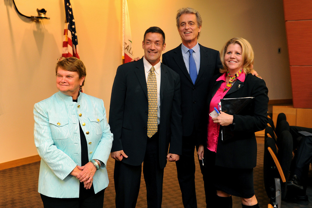 . 3rd District Board of Supervisors candidates, from left, Sheila Kuehl, John Duran, Bobby Shriver and Pamela Conley Ulich wait for the start of the debate, Thursday, March 20, 2014, at UCLA�s California NanoSystems Institute Auditorium. (Photo by Michael Owen Baker/L.A. Daily News)