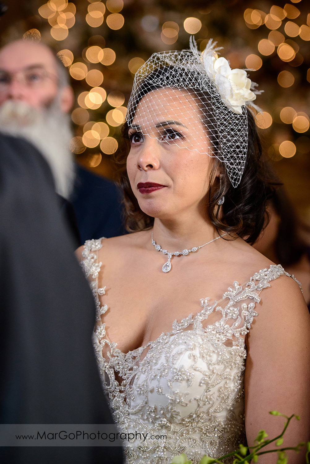 portrait of the bride during wedding ceremony at San Francisco City Hall