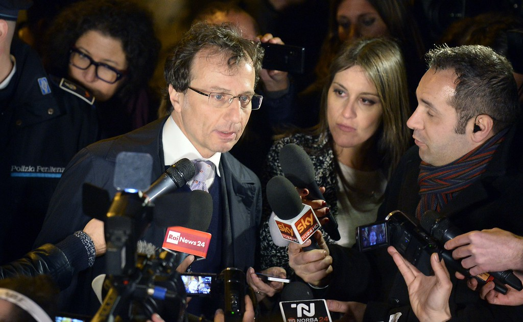 . The Kercher family\'s lawyer Francesco Maresca talks to journalists as he leaves Italy\'s highest court building, in Rome, on 27 March 2015.  Italy\'s Supreme Court has overturned the murder conviction against Amanda Knox and her ex-boyfriend Raffaele Sollecito.  AFP PHOTO / TIZIANA FABI        (Photo credit should read TIZIANA FABI/AFP/Getty Images)