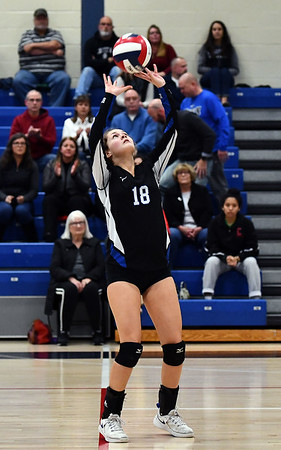 11/7/2019 Mike Orazzi | StaffrBristol Eastern's Leah Chipman (18) during the CCC girls volleyball tournament at Avon High School on Thursday. r