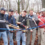 "The opening of a new section of the ""BLUE"" Trail, hence the blue ribbon. Included in the celebration was a 10 - 9 - 8 - 7 - cut the dam ribbon ceremony. Thanks to the City Of Frederick and of course the many individuals responsible for our being able to enjoy Mountain Biking."