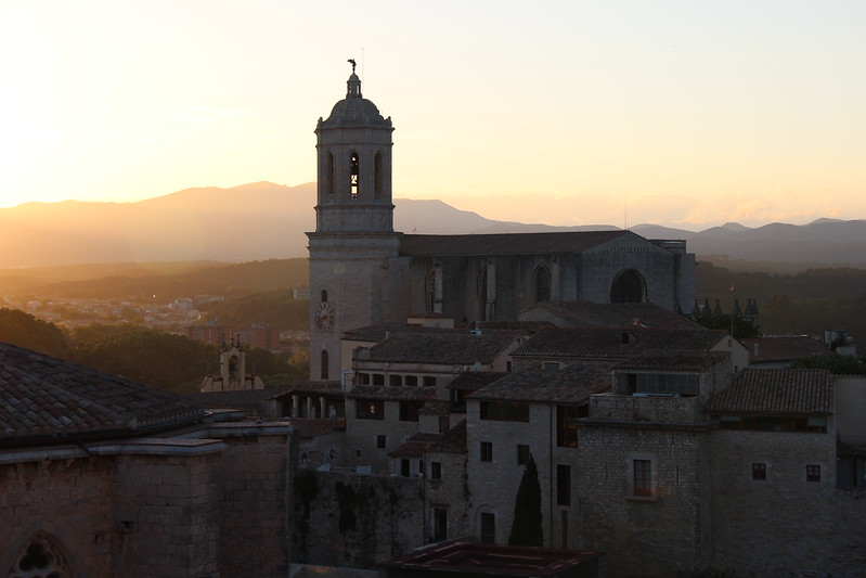Sunset view of girona's cathedral