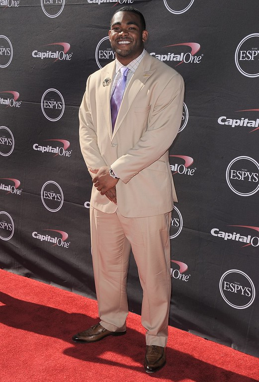 . NFL football player Brandon Graham arrives at the ESPY Awards on Wednesday, July 17, 2013, at Nokia Theater in Los Angeles. (Photo by Jordan Strauss/Invision/AP)