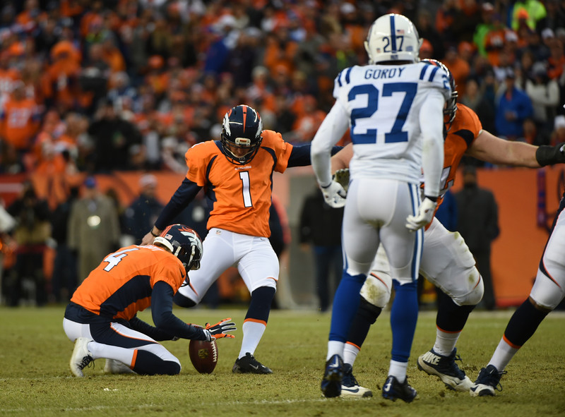 . Connor Barth (1) of the Denver Broncos kicks a field goal in the second quarter.  The Denver Broncos played the Indianapolis Colts in an AFC divisional playoff game at Sports Authority Field at Mile High in Denver on January 11, 2015. (Photo by Tim Rasmussen/The Denver Post)