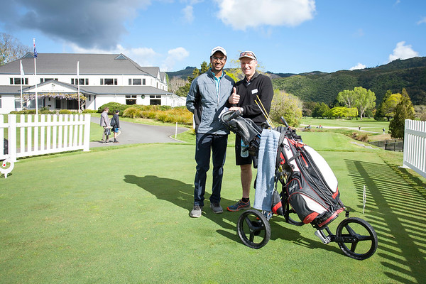 Yashas Chandra from India with caddy Barry Hayman on Practice Day 1 of the Asia-Pacific Amateur Championship tournament 2017 held at Royal Wellington Golf Club, in Heretaunga, Upper Hutt, New Zealand from 26 - 29 October 2017. Copyright John Mathews 2017.   www.megasportmedia.co.nz