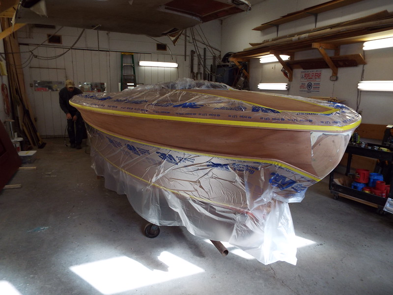 Starboard view of the top plank ready to have three coats of epoxy applied.