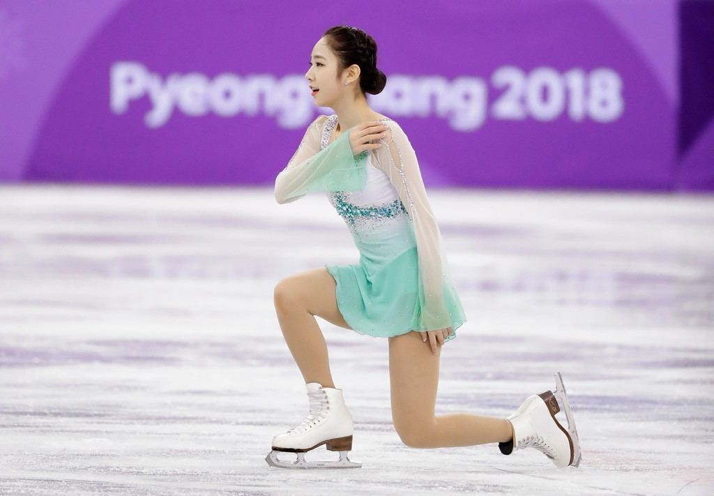 . Choi Dabin, of South Korea performs in the ladies single figure skating short program in the Gangneung Ice Arena at the 2018 Winter Olympics in Gangneung, South Korea, Sunday, Feb. 11, 2018. (AP Photo/Julie Jacobson)