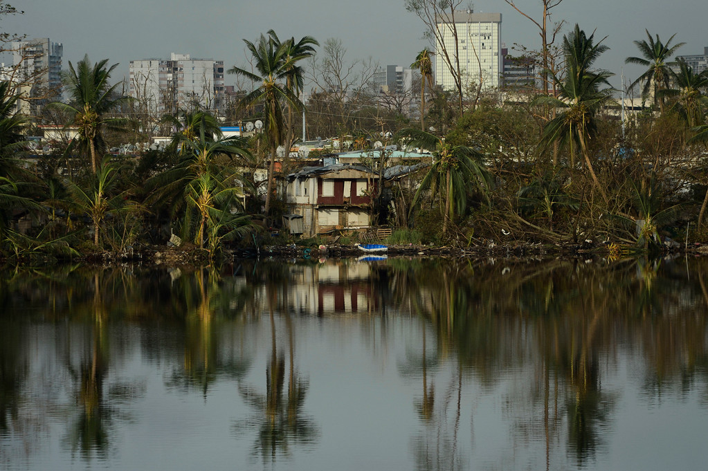 . Trees are reflected in the water in the Buena Vista community in the aftermath of Hurricane Maria in San Juan, Puerto Rico, Sunday, Sept. 24, 2017. (AP Photo/Carlos Giusti)
