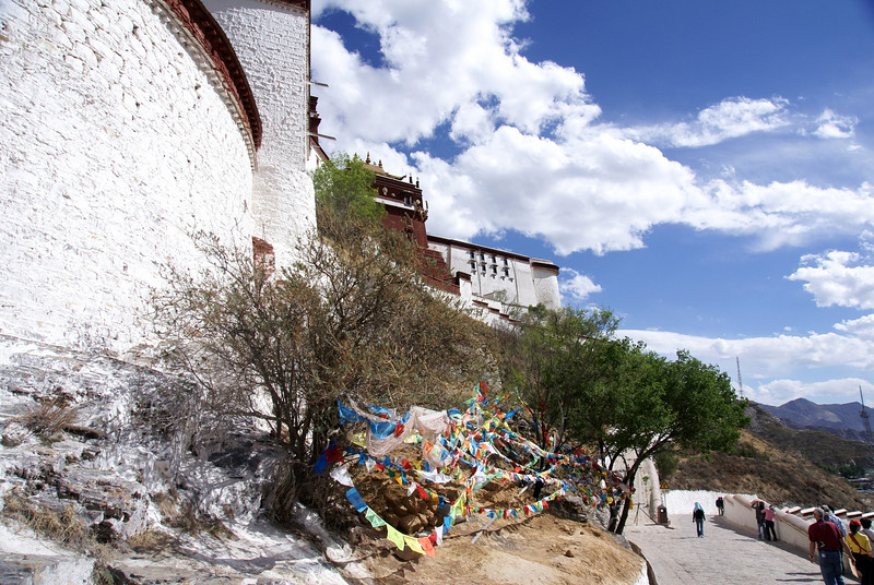 Prayer flags on exit path.