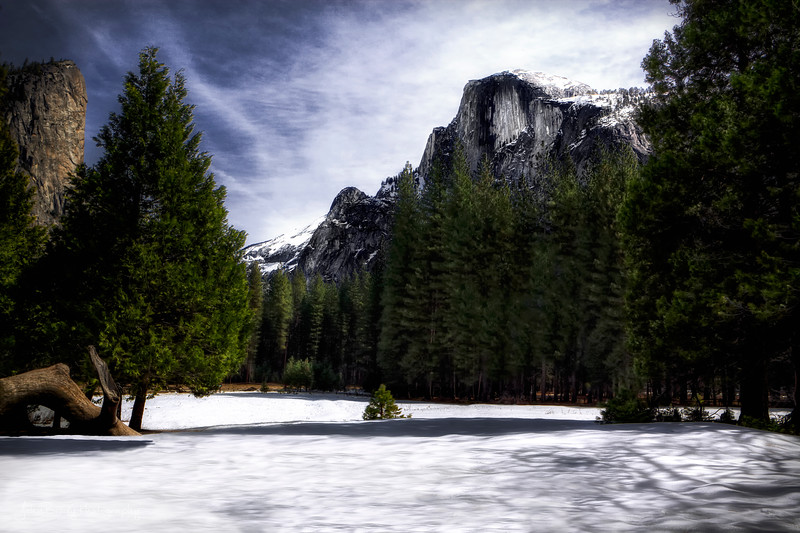 A field of Snow and Half Dome in Yosemite National Park -  - John Brody Photography / JohnBrodyPhotography.com / JohnBrody.com