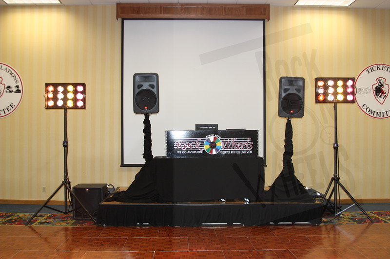 """Basic Setup: Two JBL EON 15, One 18"""" sound, 31,000 candle power lights, wireless microphone."""