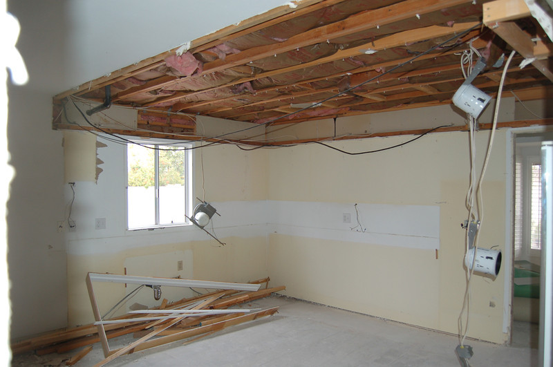 Ceiling coming down in the kitchen; soffits gone.