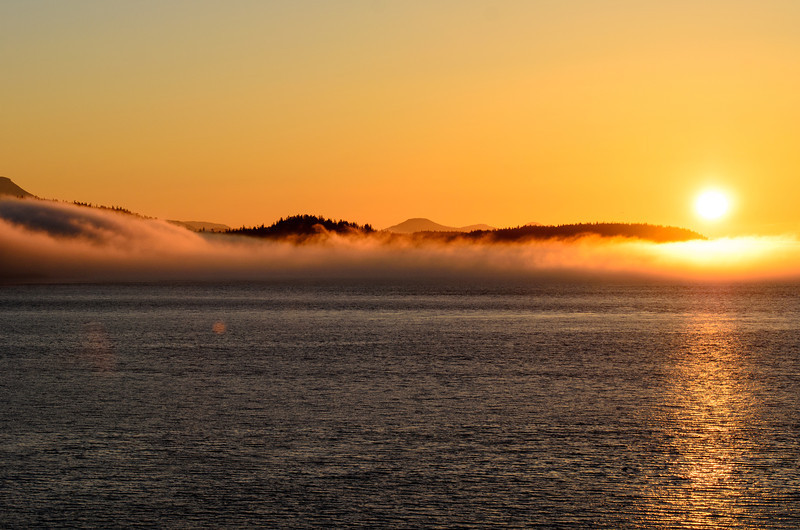 Sailing through the inner passage towards Vancouver, the fog finally lifted.