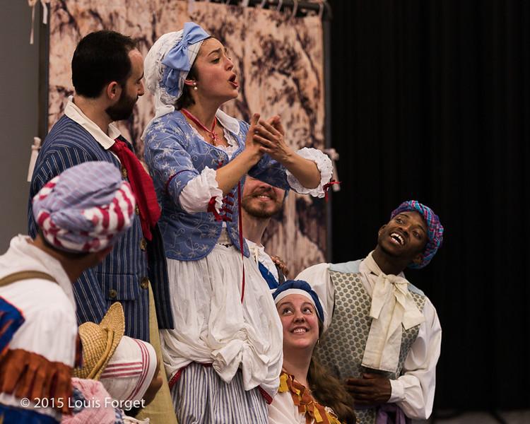 (L. to R.) Tenor Franxisco Fernández-Rueda, soprano Sophie Junker and cast in Opera Lafayette's production of Grétry's L'Épreuve Villageoise