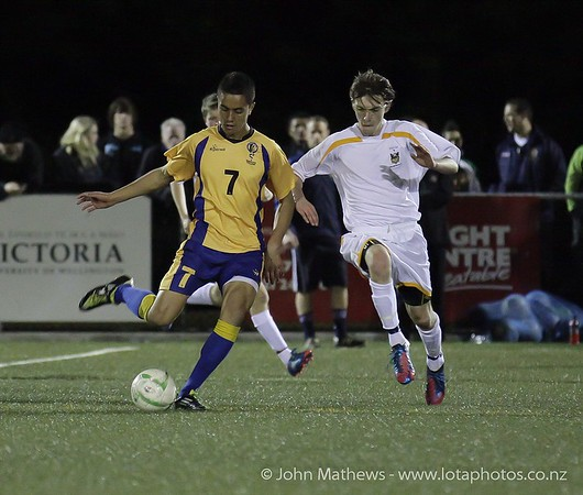 Neph Harrison and Alex Brodie at the Wellington Boys Youth Championship Premier Football Final (Trevor Rigby Cup)  between Wellington College and Rongatai College played at Wellington College, Wellington, New Zealand on 23 August 2012. Photo: john.mathews @xtra.co.nz