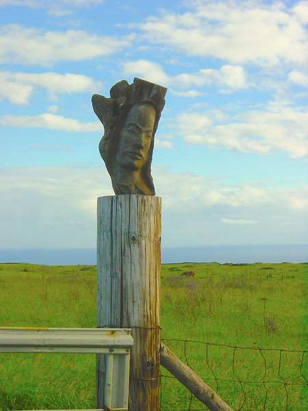 Carved Hawaiian Woman on Gate Post