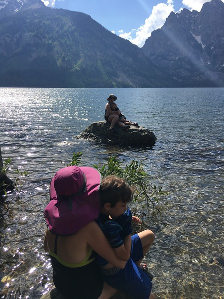 Cuddling the youngers; Jenny Lake; Grand Tetons NP