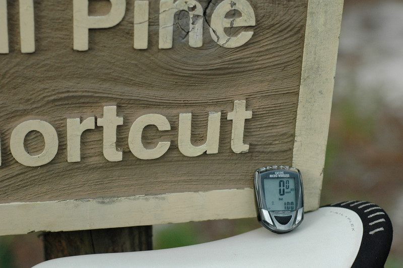 Before the group arrived, I pedaled in to get a distance from the parking lot to our first rendezvous point. It's 1Km/0.62M from the parking lot's trail entrance to the north terminus of the Tall Pine Shortcut. Uh, if you come in the way I did. GPS has been on the fritz. When I'm able, I'll do my best to post a track of what we ended up riding.