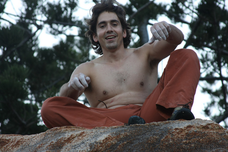 A very happy Trent after sending the best bouldering problem ever (V3), for the second time. Photo by Andrew Grosser