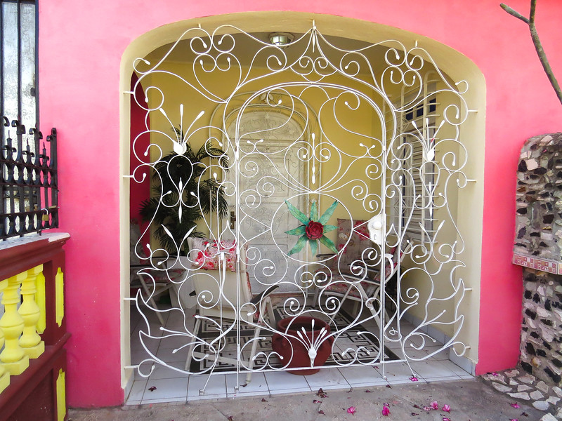 Beautiful example of the intricate ironwork found throughout Cuba in private homes and businesses.