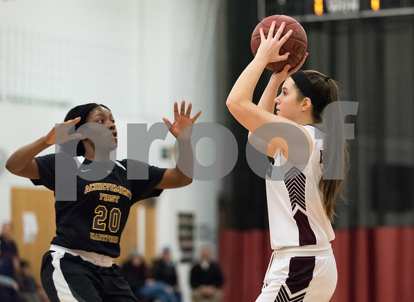 02/06/18 Wesley Bunnell | Staff Innovation girls basketball fell 25-16 to Achievement First on Tuesday night on Senior Night. Stefany Ferguson (5).